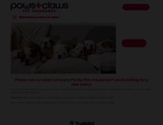 pawsandclawspetinsurance.co.uk screenshot