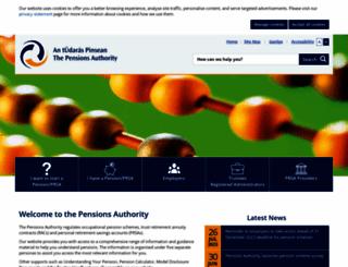 pensionsauthority.ie screenshot