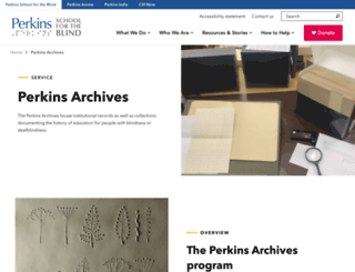 perkinsarchives.org screenshot