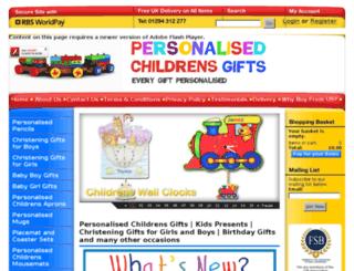 personalisedchildrensgifts.co.uk screenshot