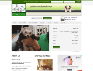 petslostandfound.co.za screenshot