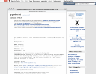 pgadmin3.darwinports.com screenshot