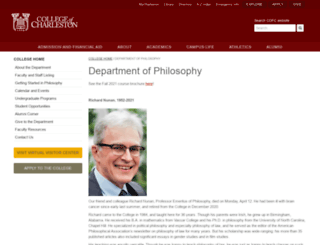 philosophy.cofc.edu screenshot