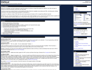 phpxref.sourceforge.net screenshot