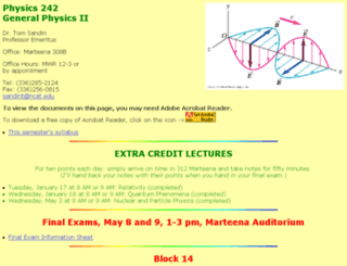 phys242.ncat.edu screenshot