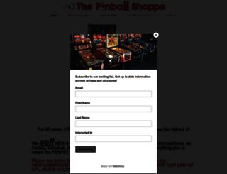 pinballshoppe.com screenshot