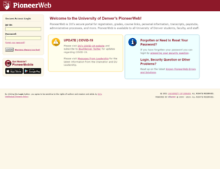 pioneerweb.du.edu screenshot
