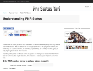 pnrstatusyari.in screenshot