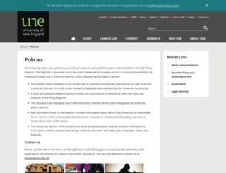 policies.une.edu.au screenshot