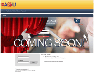 portal.aeu.edu.my screenshot