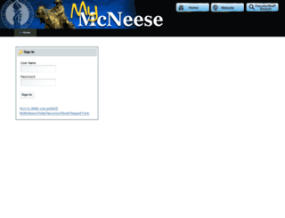 portal.mcneese.edu screenshot