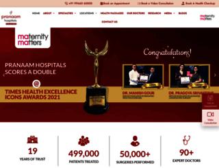pranaamhospitals.in screenshot