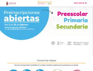preinscripcionessinaloa.gob.mx screenshot