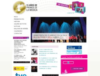premiosdelamusica.com screenshot