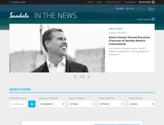 press.sandals.com screenshot