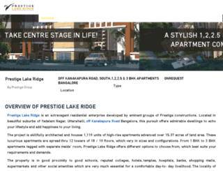 prestige-lakeridge.co.in screenshot