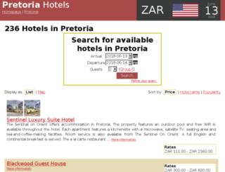 pretoria-hotels.net screenshot
