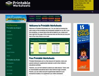 printable-worksheets.com screenshot