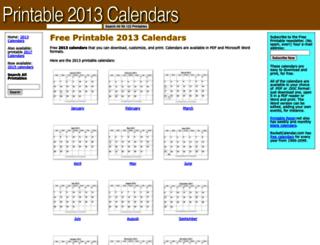 printable2013calendars.com screenshot