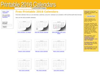printable2016calendars.com screenshot