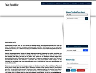prizebondlist.pk screenshot