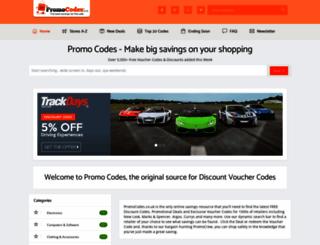 promocodes.co.uk screenshot