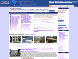 propertiesinsouthamerica.com screenshot
