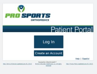 prosportsortho.followmyhealth.com screenshot