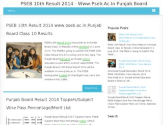 pseb10thresult2014.in screenshot
