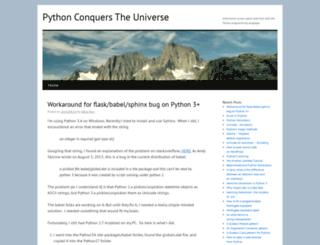 pythonconquerstheuniverse.wordpress.com screenshot