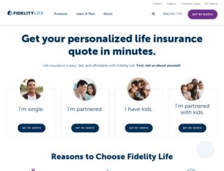 quote.fidelitylife.com screenshot