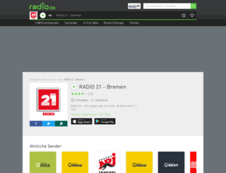 radio21bremen.radio.de screenshot