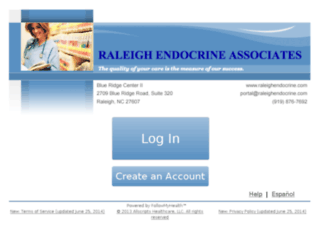 raleighendocrine.followmyhealth.com screenshot