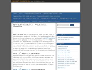 rbse12thresult2016.in screenshot
