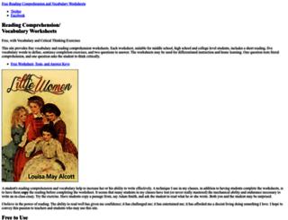 readingcomprehensionworksheets.net screenshot