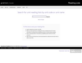 readinglists.lib.monash.edu screenshot