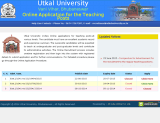 recruitment.utkaluniversity.ac.in screenshot