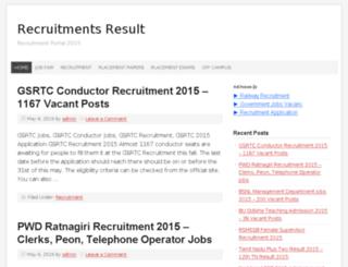 recruitmentsresult.co.in screenshot