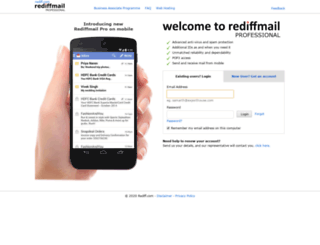 rediffmailpro.net screenshot