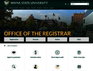 reg.wayne.edu screenshot