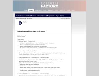 register.softballfactory.com screenshot