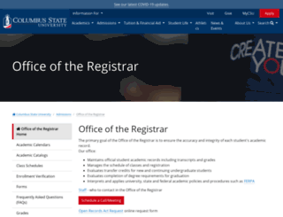 registrar.columbusstate.edu screenshot