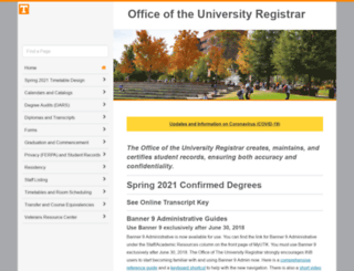 registrar.tennessee.edu screenshot