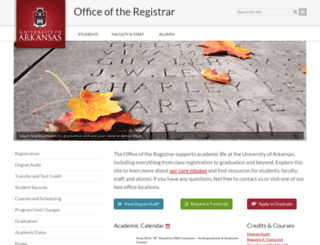 registrar.uark.edu screenshot