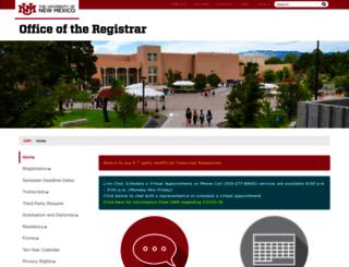 registrar.unm.edu screenshot