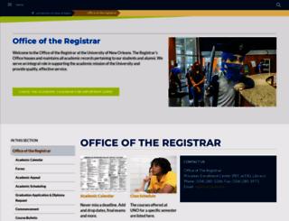 registrar.uno.edu screenshot