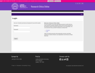 researchethics.leedsbeckett.ac.uk screenshot