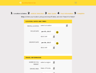 reservations.sunshinerentacar.com screenshot