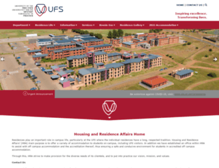 residences.ufs.ac.za screenshot