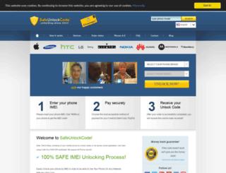 safeunlockcode.com screenshot